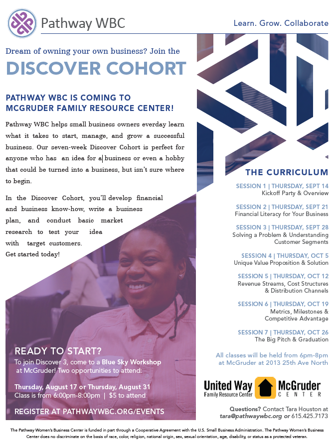 Pathway WBC: Discover Cohort at McGruder flyer